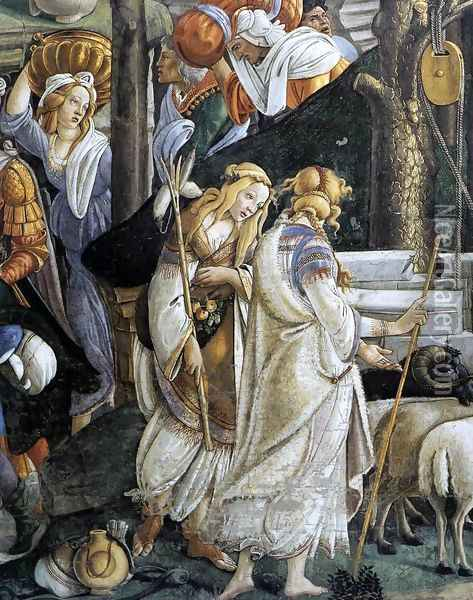 The Trials and Calling of Moses (detail 1) 1481-82 Oil Painting - Sandro Botticelli