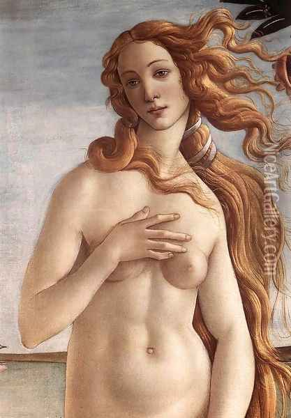 The Birth of Venus (detail 2) c. 1485 Oil Painting - Sandro Botticelli