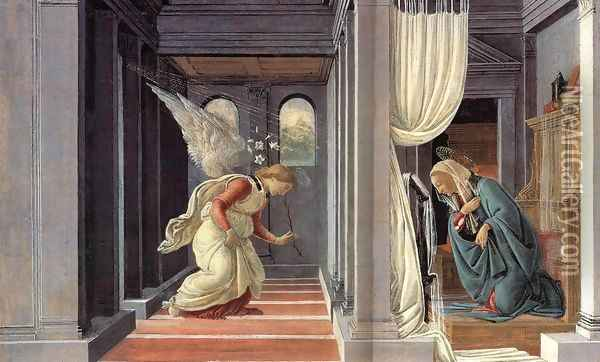 The Annunciation c. 1485 Oil Painting - Sandro Botticelli