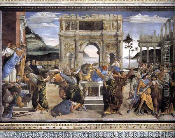 The Punishment of Korah and the Stoning of Moses and Aaron 1481-82 Oil Painting - Sandro Botticelli
