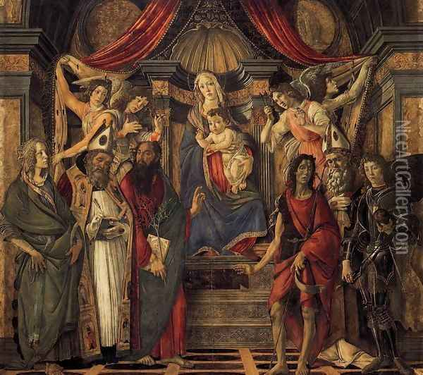 The Virgin and Child with Four Angels and Six Saints (Pala di San Barnaba) 1488 Oil Painting - Sandro Botticelli