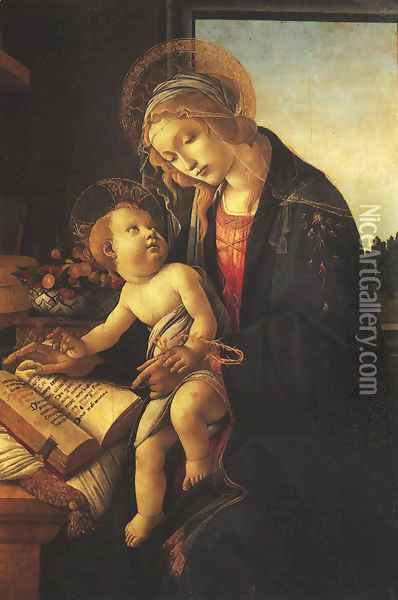 Madonna of the Book (Madonna del Libro) c. 1483 Oil Painting - Sandro Botticelli
