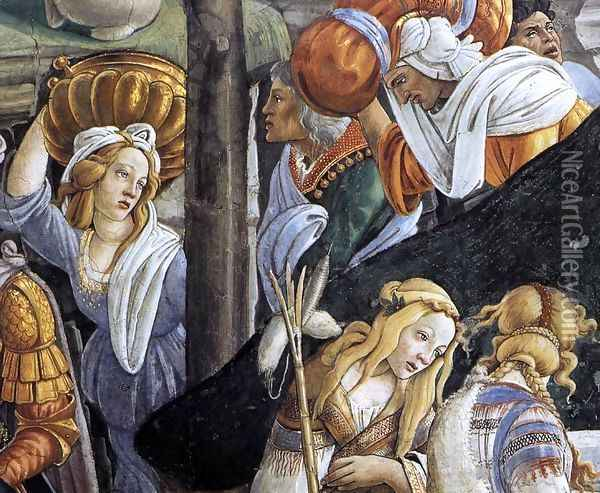 The Trials and Calling of Moses (detail 6) 1481-82 Oil Painting - Sandro Botticelli
