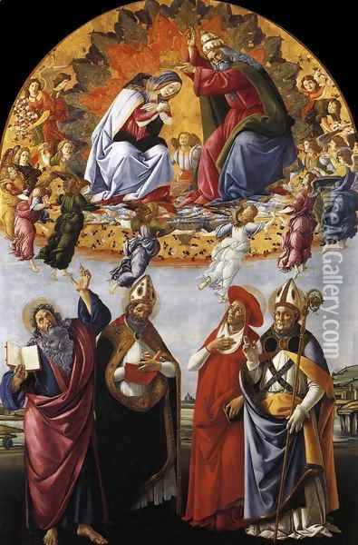 Coronation of the Virgin with St. John the Evangelist, St. Augustine, St. Jerome, and St. Eligio Oil Painting - Sandro Botticelli