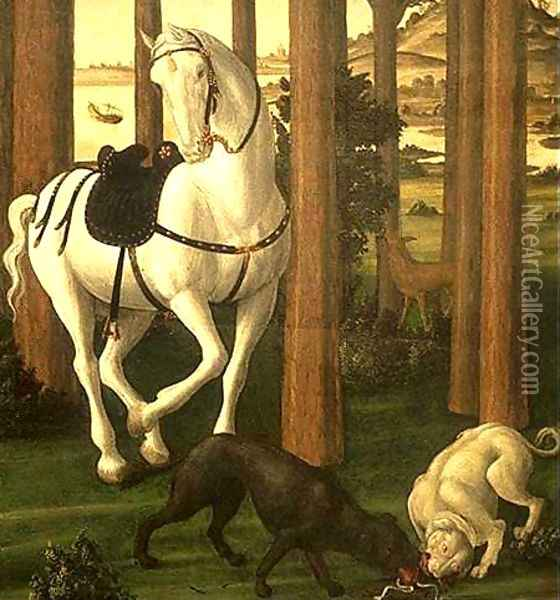 The Story of Nastagio degli Onesti (detail 2 of the second episode) c. 1483 Oil Painting - Sandro Botticelli