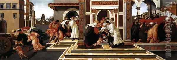 Last Miracle and the Death of St Zenobius 1500-05 Oil Painting - Sandro Botticelli