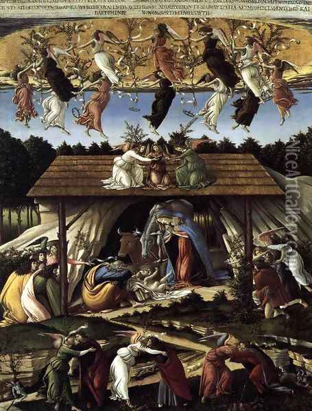 The Mystical Nativity c. 1500 Oil Painting - Sandro Botticelli