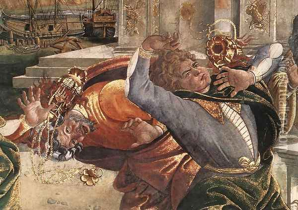 The Punishment of Korah and the Stoning of Moses and Aaron (detail 3) 1481-82 Oil Painting - Sandro Botticelli