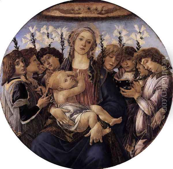 Madonna and Child with Eight Angels c. 1478 Oil Painting - Sandro Botticelli