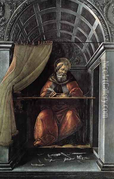 St Augustine in His Cell 1490-94 Oil Painting - Sandro Botticelli