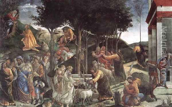 The Trials and Calling of Moses 1481-82 Oil Painting - Sandro Botticelli