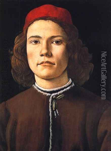 Portrait of a Young Man c. 1483 Oil Painting - Sandro Botticelli