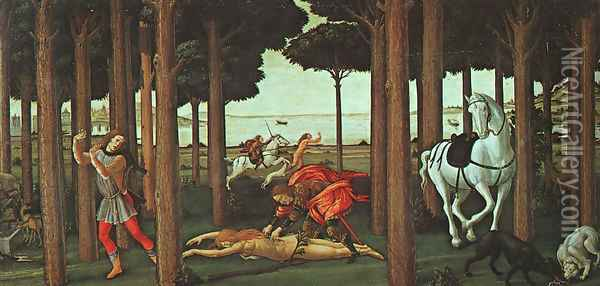 The Story of Nastagio degli Onesti (second episode) c. 1483 Oil Painting - Sandro Botticelli