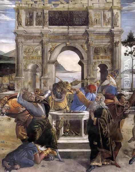 The Punishment of Korah and the Stoning of Moses and Aaron (detail 1) 1481-82 Oil Painting - Sandro Botticelli