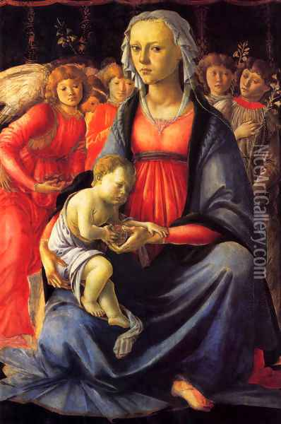 The Virgin And Child With Five Angels Oil Painting - Sandro Botticelli