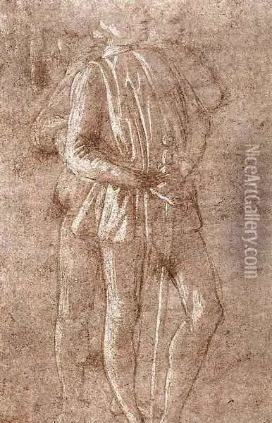 Study of two standing figures c. 1475 Oil Painting - Sandro Botticelli