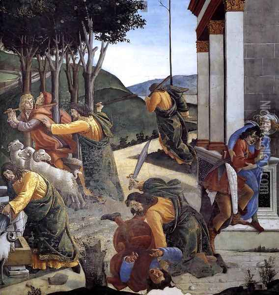The Trials and Calling of Moses (detail 7) 1481-82 Oil Painting - Sandro Botticelli