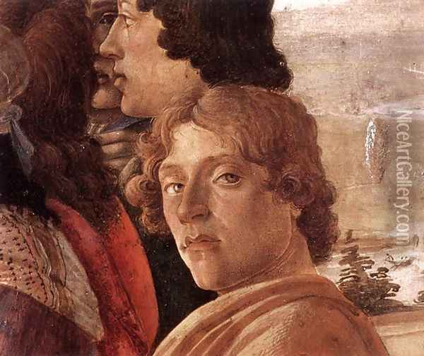 The Adoration of the Magi (detail 3) c. 1475 Oil Painting - Sandro Botticelli