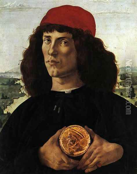 Portrait of a Man with a Medal of Cosimo the Elder c. 1474 Oil Painting - Sandro Botticelli