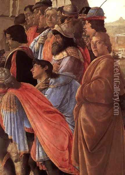 The Adoration of the Magi (detail 2) c. 1475 Oil Painting - Sandro Botticelli