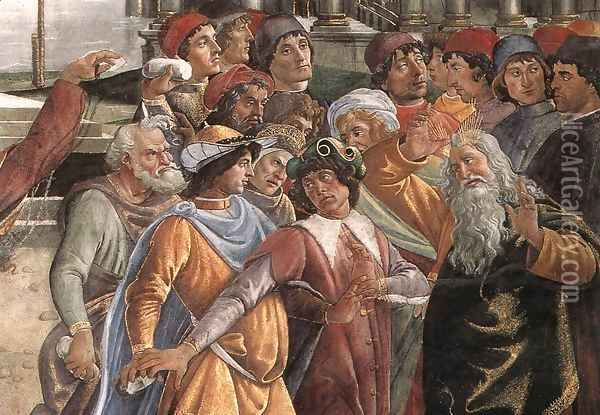 The Punishment of Korah and the Stoning of Moses and Aaron (detail 5) 1481-82 Oil Painting - Sandro Botticelli