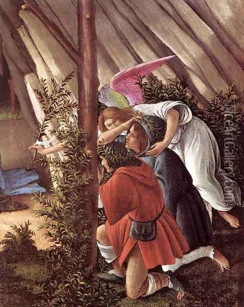 The Mystical Nativity (detail 2) c. 1500 Oil Painting - Sandro Botticelli