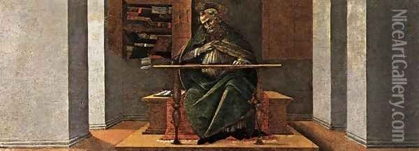 St Augustine in His Cell 1490-92 Oil Painting - Sandro Botticelli