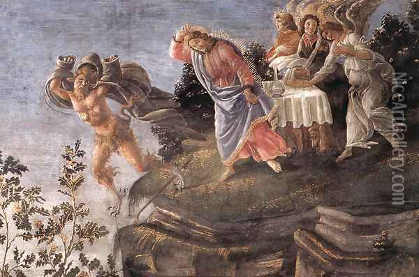 Three Temptations of Christ (detail 6) 1481-82 Oil Painting - Sandro Botticelli