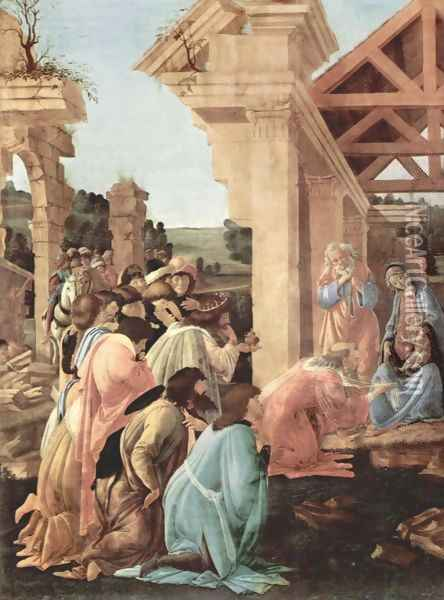 Adoration of the Magi (detail 1) Oil Painting - Sandro Botticelli
