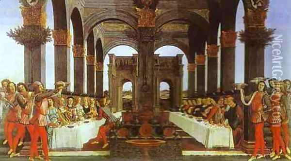 The Wedding Banquet Oil Painting - Sandro Botticelli