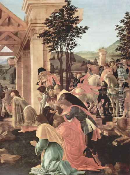 Adoration of the Magi (detail 2) Oil Painting - Sandro Botticelli