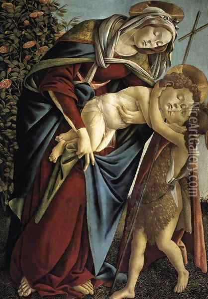 Madonna and Child and the Young St John the Baptist Oil Painting - Sandro Botticelli