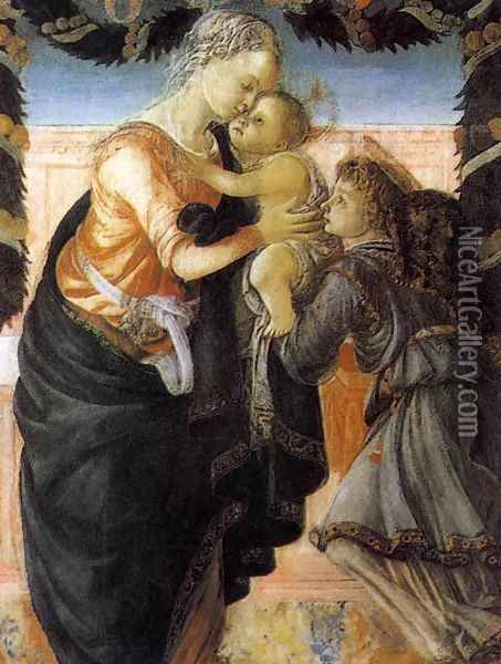 Madonna and Child with an Angel 2 Oil Painting - Sandro Botticelli