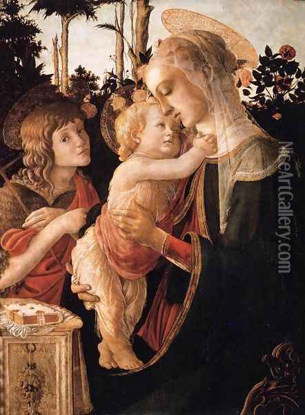 Virgin and Child with Young St John the Baptist Oil Painting - Sandro Botticelli