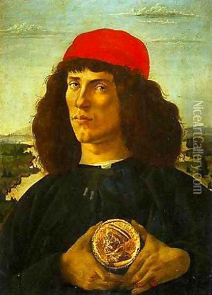 Portrait of a Young Man with a Medallion Oil Painting - Sandro Botticelli