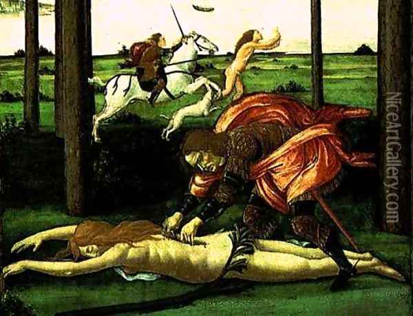 The Story of Nastagio degli Onesti (detail of the second episode) 2 Oil Painting - Sandro Botticelli