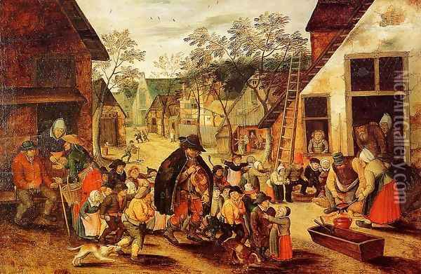 The Organ Grinder Oil Painting - Pieter the Elder Bruegel