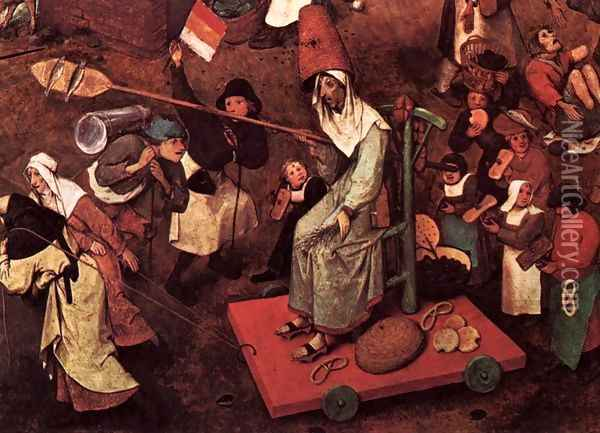The Fight between Carnival and Lent (detail) 2 Oil Painting - Pieter the Elder Bruegel