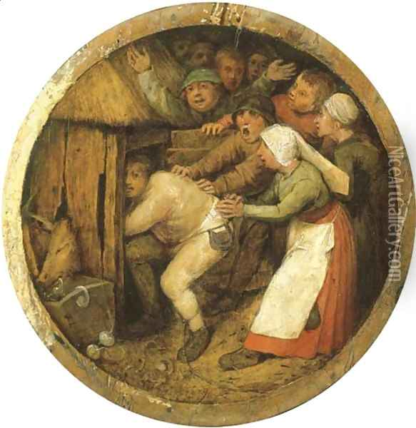 The Drunkard pushed into the Pigsty Oil Painting - Pieter the Elder Bruegel