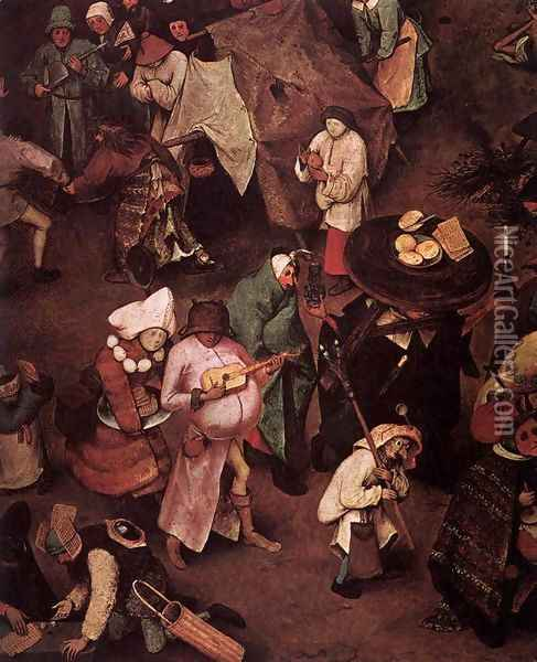 The Fight between Carnival and Lent (detail) 3 Oil Painting - Pieter the Elder Bruegel