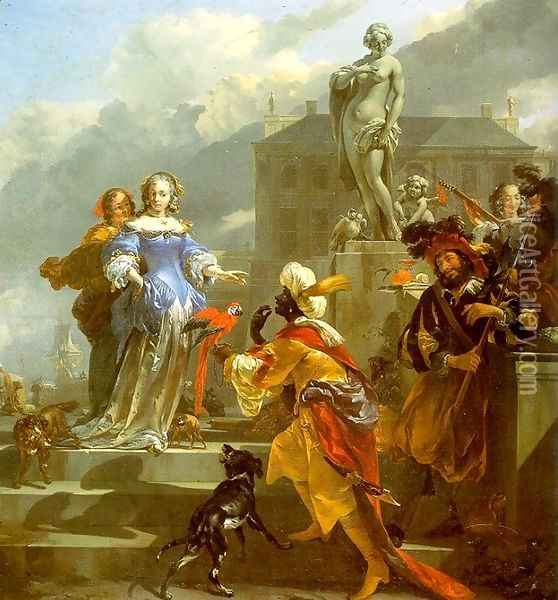 A Moor Presenting a Parrot to a Lady 1660s Oil Painting - Nicolaes Berchem