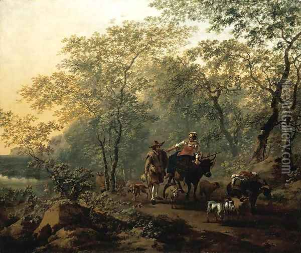 An Italianate Landscape 1654 Oil Painting - Nicolaes Berchem