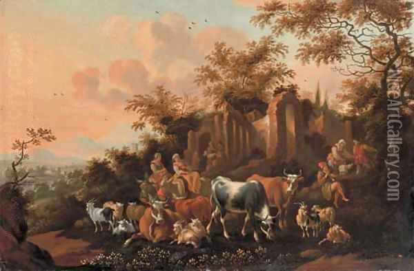 An Italianate landscape with peasants among cows, goats and sheep near a ruin Oil Painting - Nicolaes Berchem