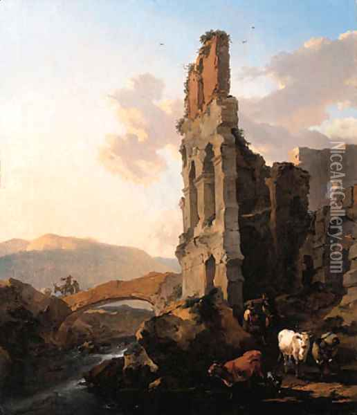 An Italianate river landscape with herdsmen by the ruins of an amphitheatre, and peasants crossing a bridge Oil Painting - Nicolaes Berchem