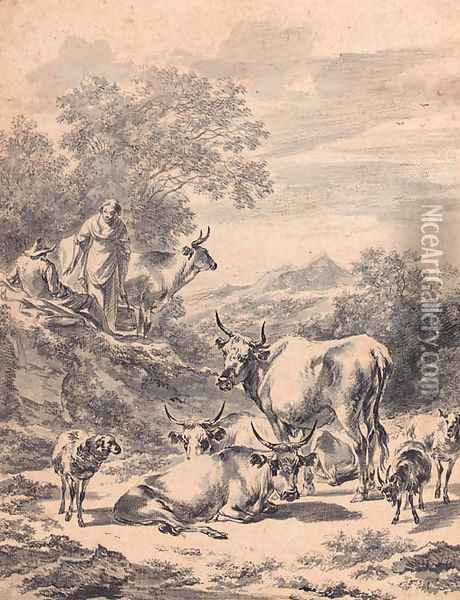 Herdsmen with cattle and sheep in an extensive Italianate landscape Oil Painting - Nicolaes Berchem