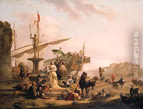 A Capriccio of a Mediterranean harbour with an elegant couple disembarking from a galley, bandits and merchants on the quay nearby Oil Painting - Nicolaes Berchem