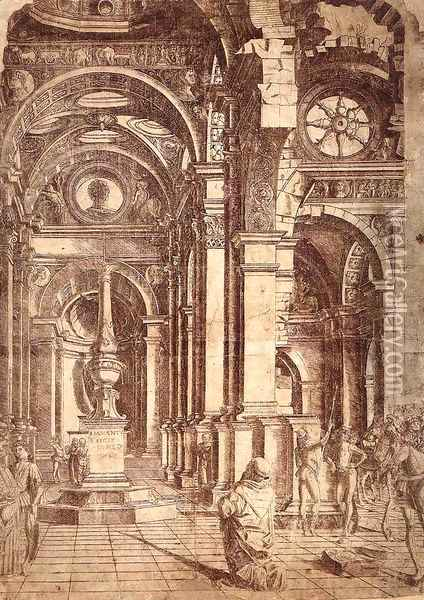 Interior of a Church c. 1480 Oil Painting - Donato Bramante