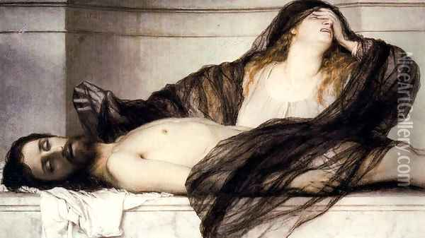 Mary Magdalene crying for the dead Christ Oil Painting - Arnold Bocklin