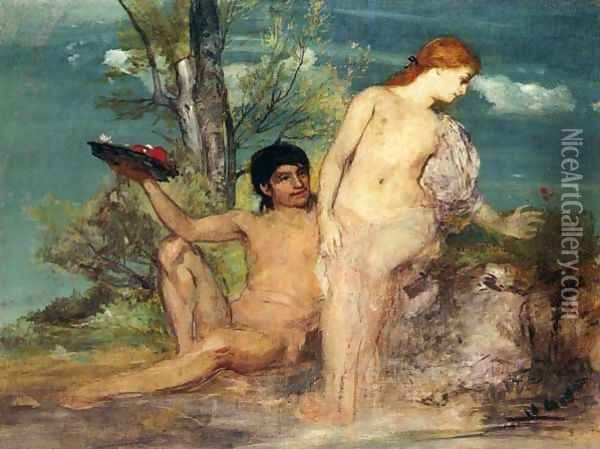 Lovers in Front of a Shrubbery 1864 Oil Painting - Arnold Bocklin