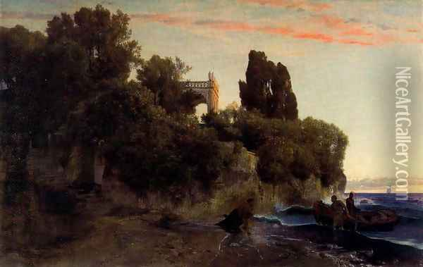 Castle by the sea (Murder in the park) Oil Painting - Arnold Bocklin